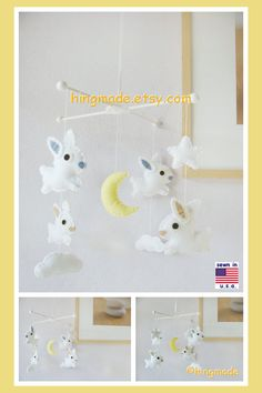 Baby Crib Mobile, Baby Mobile, Bunny Mobile, Unisex Nursery, Moon and Star Cot, White Rabbit in a white starry night