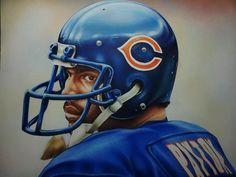 Walter Payton, ink and gouache. Sports Art, Sports Decor, Sports Teams, Walter Payton, Cool Artwork, Football Helmets, Illustrators, Nfl, Deviantart
