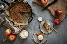 custardy creme fraiche apple pie | two red bowls: Flour, Sugar, Salt, Apples, Egg, Vanilla, Creme Fraiche, Sour Cream, Brown Sugar Cinnamon, Butter CAITLIN Make Keto?
