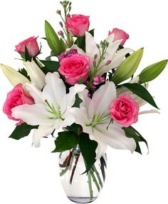 Share what has been so freely given, with this gorgeous vase arrangement of white lilies and 1/2 dozen pink roses, with delicate pink blossoms. Description from canadaflowers.ca. I searched for this on bing.com/images