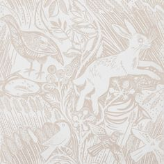 Mark Hearld - Harvest Hare - wallpaper - chalk white per roll Scenic Wallpaper, Wallpaper Uk, Nursery Wallpaper, White Wallpaper, Designer Wallpaper, Closet Wallpaper, Rabbit Wallpaper, Wallpaper Patterns, Embossed Wallpaper