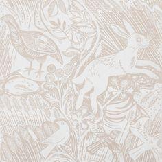 Beautiful Mark Hearld Chalk White Harvest Hare Wallpaper - want it!