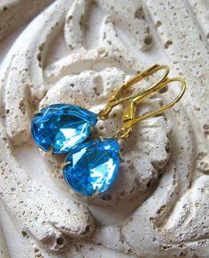 Turquoise Jewel Earrings, Vintage Czech Glass Earrings, Blue Topaz by MySweetNomsa on Etsy