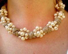 Pearl and linen necklace linen pearl beaded by DolceStilNovoLab