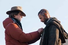 Director Tom Hooper with Hugh Jackman on the set of Les Misérables in the French Alps