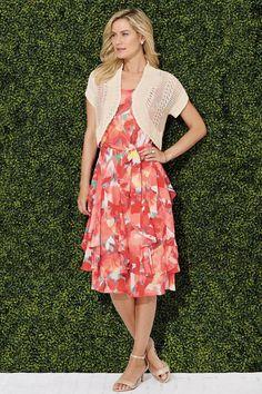 Coral Multi Corkscrew Dress and Shrug Sweater Set: Classic Women's Clothing from #ChadwicksofBoston $79.99