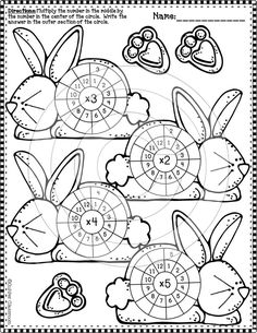 Multiplication practice sheets with an Easter theme. Multiplication Wheel, Multiplication Strategies, Math Fractions, 2nd Grade Math, Third Grade, Singapore Math, School Worksheets, Math Notebooks, Math Numbers