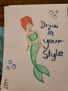 Draw in your style Mermaid OC. Art Style Challenge, Drawing Challenge, Art Sketches, Art Drawings, Kawaii Drawings, Drawing Prompt, Drawing Tips, Drawing Ideas, Character Drawing