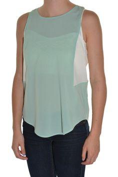 Grifflin Paris Colorblock Blouse Drop Tail Tank Sheer Top Round Neck Shirt  #GrifflinParis #Blouse #Casual
