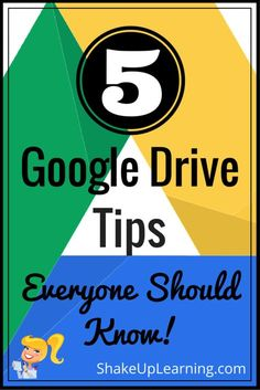 5 Google Drive Tips Everyone Should Know! I frequently share my favorite Google tricks and tips, so I have combined some of my favorites into this post. Today I have put together a list of five Google Drive tips to help teachers, students, or ANYONE make the most of Google Drive.