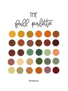 Fall Color Palette, Colour Pallette, Colour Schemes, Color Combos, Palette Art, Lettering, Color Swatches, Color Theory, Color Inspiration