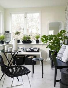 Inspiration: Inredning: svart, vitt, grönt