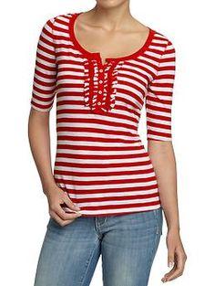 $15 Women's Ruffled Slub-Knit Henleys   Old Navy