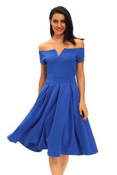 Robes Vintage Midi epais Robe Evasee Bleu Couleur Pleine Pas Cher www.modebuy.com @Modebuy #Modebuy #Bleu #vente #Bleu #me