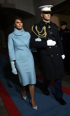 INAUGURATION DAY CHIC   First Lady Melania looked to former First Lady Jackie Kennedy for inspiration for her husband President Donald Trump's inauguration. The brunette beauty wore a sophisticated pale blue ensemble by American designer Ralph Lauren.