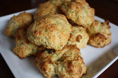 Cheddar, bacon, and chive biscuits. Not sweet, still baked.