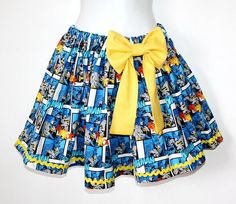 Batman Gathered Skirt Comic Book Retro Adult size by OhHoneyHush