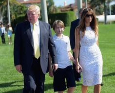 Donald Trump with wife Melania and youngest son,  Barron Trump.