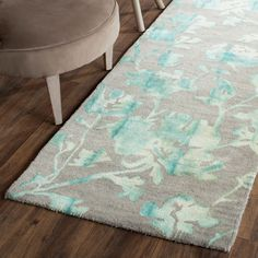 Dip Dye Collection DDY716L Color: Grey / Turquoise - #safavieh #safaviehrugs #safaviehrunners #rugrunners #rugs #hallwayrugs #entrywayrugs #staircaserugs #staircasecarpets #entrywaycarpts #bedroomrugs #livingroomrugs #diningroomrugs #kitchenrugs #hallwaydecor #entrywaydecor #shoprugs #runnercarpets #bluerunnerrug #tauperunnerrug