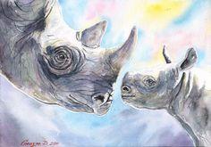 Rhinos family Print of the Original baby от GeorgeWatercolorArt