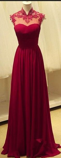 Lace Long Prom Dress, Red Chiffon Prom Dress, Generous Cap Sleeves Prom Dress