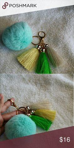 Cute fur pom-pom key chain for your LV Brand new,  no name brand,  light blue Louis Vuitton Bags Mini Bags