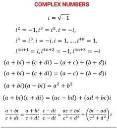 Reference sheet that exemplifies how an imaginary unit is derived and how to simplify imaginary numbers Mathematics Geometry, Physics And Mathematics, Math Vocabulary, Maths, Statistics Math, Math Tutorials, Complex Numbers, Math Quotes, Math Charts