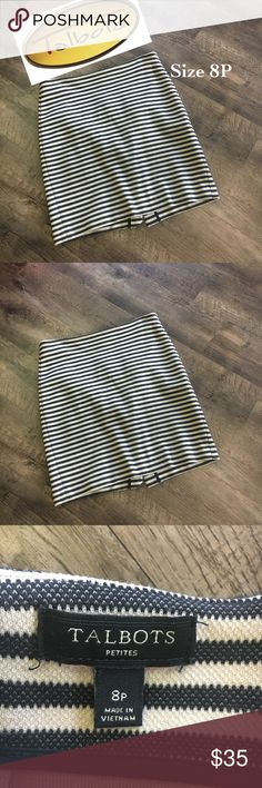 Talbots knit skirt with back hidden zipper Black and winter white striped skirt. Hidden zipper in back perfect condition. Talbots Skirts Midi