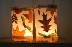 Leaf lanterns (semi-pressed autumn leaves between baking paper layers, rolled into a lantern)
