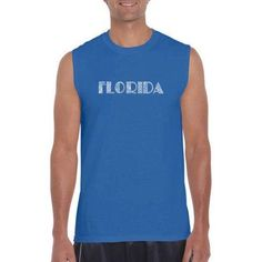 Los Angeles Pop Art Men's Sleeveless T-Shirt - Popular Cities In Florida, Size: Medium, Blue