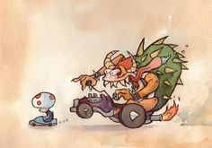 Cute version of Mario Cart Racing