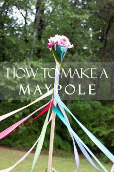 How to make a Maypole, Maypole diy, Maypole tutorial, May Day, Maypole dancing, pagan holiday, Mother's Day picnic, girl garden birthday party