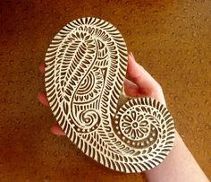 Large Paisley Stamp Clay Wall Hanging Hand Carved Printing Block Wood Indian Textile Ceramic Pottery From India