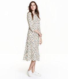Pitkä kuviollinen mekko | Luonnonvalkoinen/Pilkullinen | Naiset | H&M FI