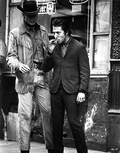 "Jon Voight as Joe Buck and Dustin Hoffman as Ratso Rizzo in ""Midnight Cowboy"" (1969)."