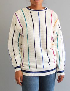 vintage striped sweater . womens sweater . white stripes sweater . OP sweater . Ocean Pacific slouchy sweater . 80s 90s sweater