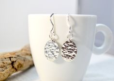 Sterling Silver Oval Disc Earrings, Textured Silver Earrings, Modern Hammered Disc Earrings, Simple Everyday Dangle Silver Earrings, Gift by ESBeadworks on Etsy