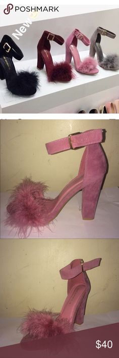 Pink Feather Heel Only Have the Pink one ( Doesn't come with shoe box ) shoe republic la Shoes Heels