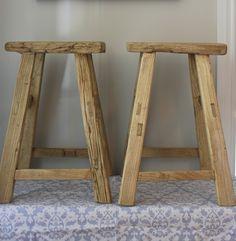 Raw reclaimed wood stool