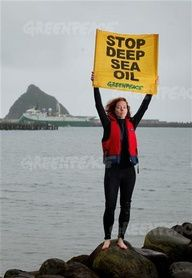 Greenpeace activist Liz Willoughby-Martin protests the arrival of Polarcus Alima survey vessel at Port Taranaki. It is due to leave shortly to start exploring for deep sea oil off Raglan on behalf of the US oil giant Anadarko. Greenpeace New Zealand is campaigning against the Government's sell-off of deep water drilling rights in New Zealand. There are plans to drill in water up to twice as deep as the Deepwater Horizon was operating in when it exploded and sank in 2010, spilling millions of…