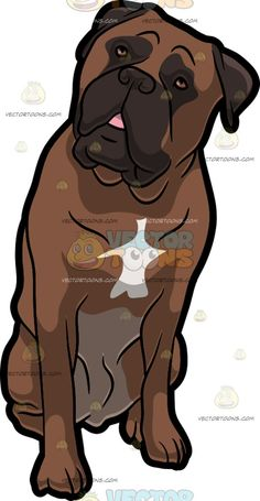 An Adorable Bull Mastiff Pet Dog :  A big dog with brown short fur dark brown muzzle eye border and droopy ears a white mark on the chest tilts its head to its left while sitting on the floor lips slightly parted to reveal a little bit of its pink tongue  The post An Adorable Bull Mastiff Pet Dog appeared first on VectorToons.com.