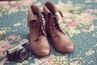 Brown Foldable Lace-Up Boots
