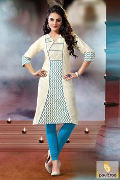 Off white ice blue cotton embroidery stylish kurti is designed with good embroidery work and resham work. It is made with the best cotton fabric. A casual wear.