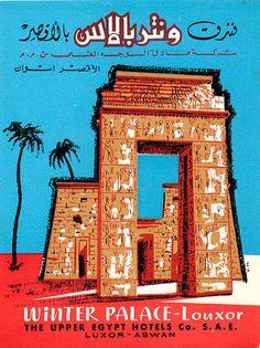 Vintage Winter Palace Hotel, Louxor / Luxor, Egypt luggage label