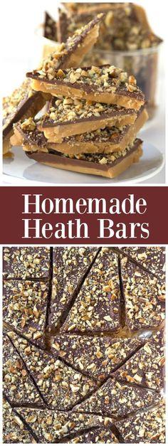 Easy recipe for Homemade Heath Bars ~ chocolate toffee bars : from RecipeGirl.com