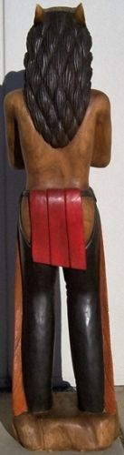 """Cigar Store Indian with Bear Headdress, Hand Carved Wood, 70"""" tall, sns150"""