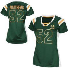 Women's Green Bay Packers Clay Matthews Green Draft Him Shimmer V-Neck T-Shirt