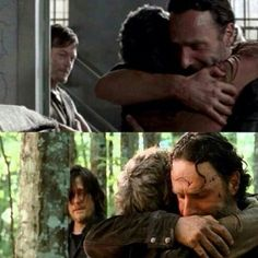 """That's the Rick and Carol, i like to see :) Haha and Daryl's in the background in both of them like """"boy who told you you could hug my woman. Stahp man."""""""