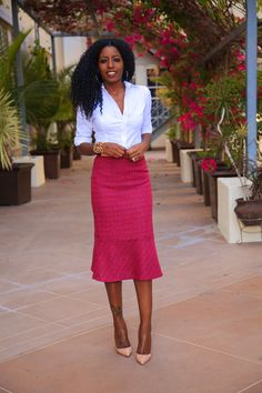 White Button Up Shirt + Flared Midi Skirt