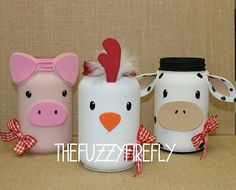 This is for the set of 3 Barn and animal mason jars. This set includes a barn, a cute lil pig and a sweet cow. Party Animals, Farm Animal Party, Barnyard Party, Farm Party, Farm Themed Party, Cow Birthday, Farm Animal Birthday, 2nd Birthday Parties, Birthday Ideas